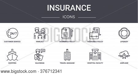 Insurance Concept Line Icons Set. Contains Icons Usable For Web, Logo, Ui Ux Such As Families, Insur