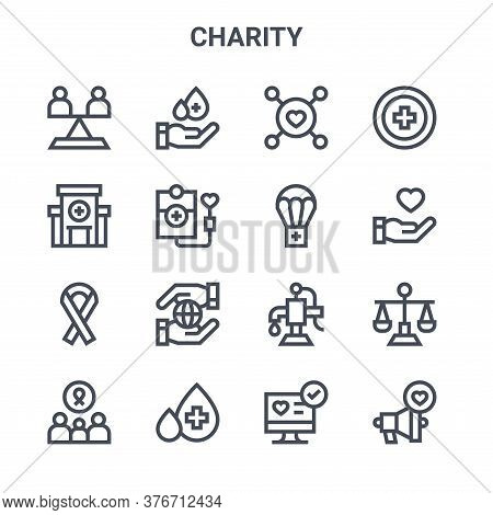 Set Of 16 Charity Concept Vector Line Icons. 64x64 Thin Stroke Icons Such As Blood Donation, Hospita