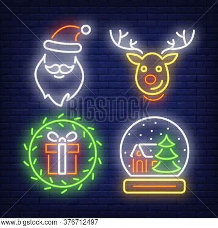 Christmas Neon Signs Set With Gift, Reindeer, Santa Claus Hat And Beard. Christmas And New Year Day