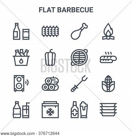 Set Of 16 Flat Barbecue Concept Vector Line Icons. 64x64 Thin Stroke Icons Such As Ribs, Bucket, Bre