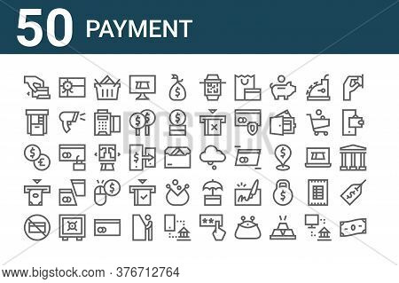 Set Of 50 Payment Icons. Outline Thin Line Icons Such As Money, No Cit Card, Atm, Exchange, Atm, Gif