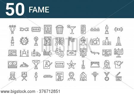 Set Of 50 Fame Icons. Outline Thin Line Icons Such As Clapperboard, Man, Money, Video Chat, Sculptur