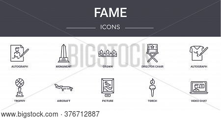 Fame Concept Line Icons Set. Contains Icons Usable For Web, Logo, Ui Ux Such As Monument, Director C