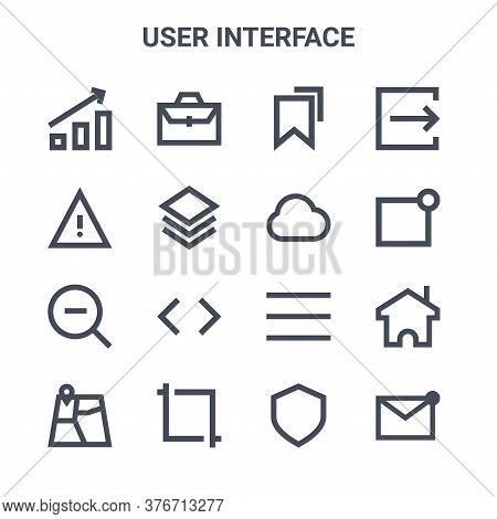 Set Of 16 User Interface Concept Vector Line Icons. 64x64 Thin Stroke Icons Such As Briefcase, Warni