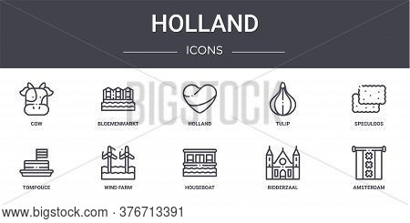 Holland Concept Line Icons Set. Contains Icons Usable For Web, Logo, Ui Ux Such As Bloemenmarkt, Tul