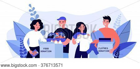 Happy Volunteers Donating Clothes And Food For Charity Flat Illustration. Young Volunteering Team Pu