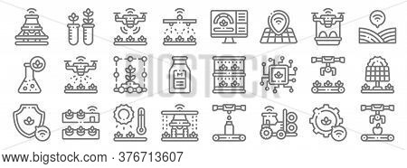 Smart Farm Line Icons. Linear Set. Quality Vector Line Set Such As Conveyor, Tractor, Watering, Prot