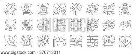Brazilian Carnival Line Icons. Linear Set. Quality Vector Line Set Such As Flag, Music, Moustache, F