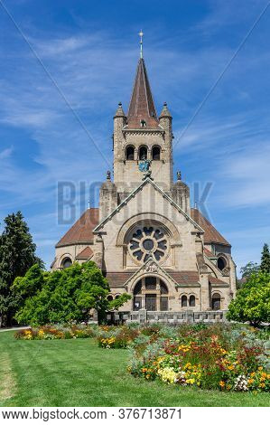 A View Of The Historic Pauluskirche Church In Downtwon Basel