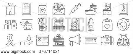 Charity Line Icons. Linear Set. Quality Vector Line Set Such As Vest, Cheque, Lunchroom, Charity, Mo