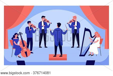Classical Music Concert Isolated Flat Vector Illustration. Cartoon Symphony Orchestra, Conductor And