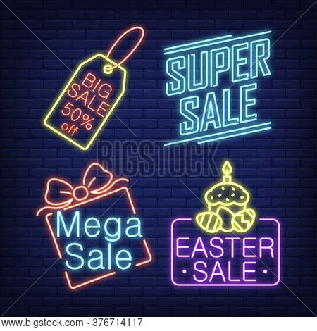 Sale Neon Signs Set With Tag And Gift Box. Sale Advertisement Design. Night Bright Neon Sign, Colorf