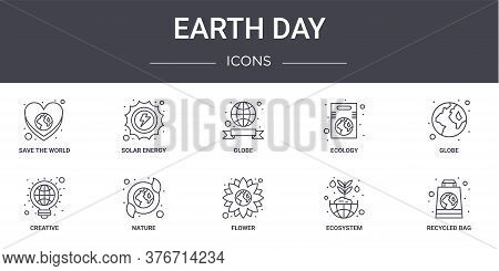 Earth Day Concept Line Icons Set. Contains Icons Usable For Web, Logo, Ui Ux Such As Solar Energy, E