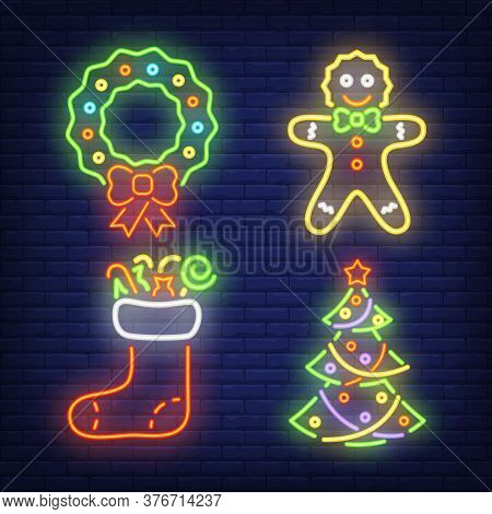 Christmas Decoration Neon Sign Set. Wreath, Gingerbread, Tree, Stocking On Brick Wall Background. Il