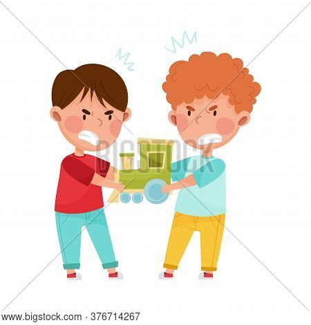 Hostile Kids With Angry Grimace Fighting Over Toy Train Vector Illustration