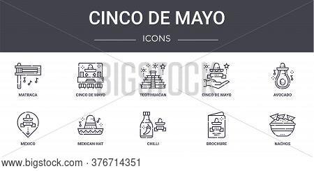 Cinco De Mayo Concept Line Icons Set. Contains Icons Usable For Web, Logo, Ui Ux Such As Cinco De Ma