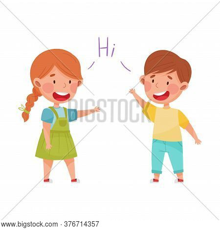 Friendly Kids Greeting Each Other Waving Hands And Laughing Vector Illustration