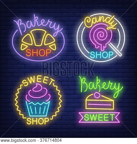 Croissant, Candy, Cupcake And Cake Neon Signs Set With Text. Bakery Shop Advertisement Design. Night