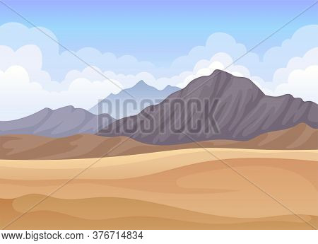 Horizontal Scenery With Mountains And Desert Sand Landscape Vector Illustration