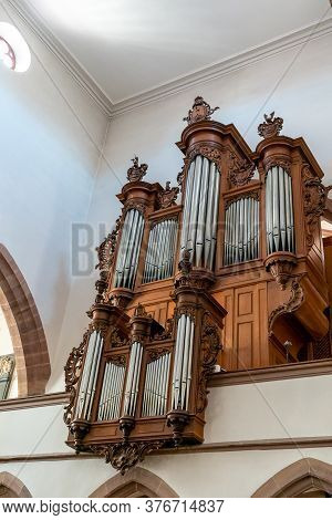 Basel, Bl / Switzerland - 8 July 2020:  View Of The Organ Inside The St. Peter's Church In Basel