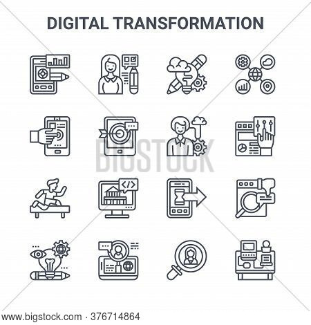 Set Of 16 Digital Transformation Concept Vector Line Icons. 64x64 Thin Stroke Icons Such As Testing,