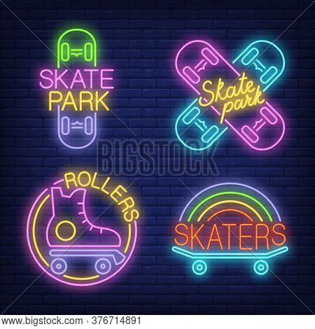 Skateboards And Rollers Neon Signs Set. Skate Park Advertisement Design. Night Bright Neon Sign, Col