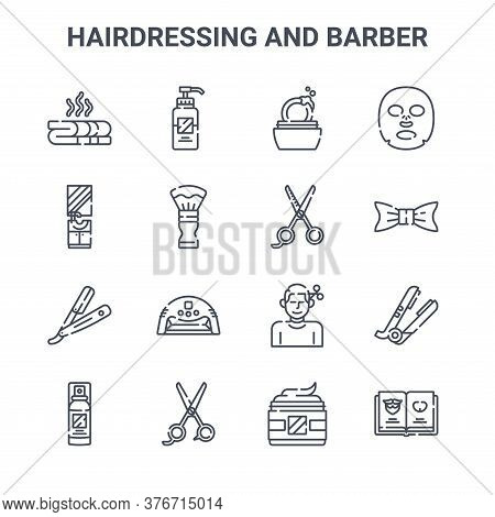 Set Of 16 Hairdressing And Barber Concept Vector Line Icons. 64x64 Thin Stroke Icons Such As Lotion,