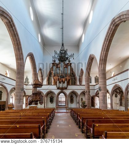 Basel, Bl / Switzerland - 8 July 2020:  Interior View Of The St. Peter's Church In Basel