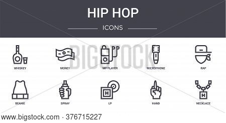 Hip Hop Concept Line Icons Set. Contains Icons Usable For Web, Logo, Ui Ux Such As Money, Microphone