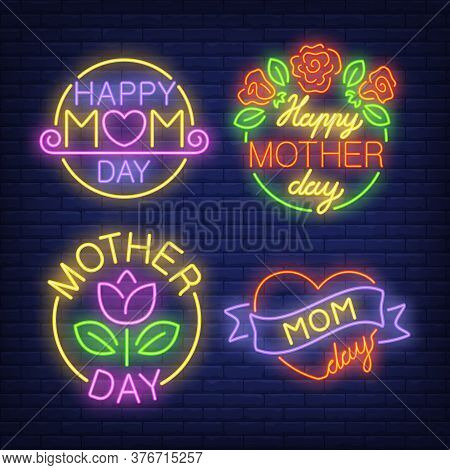 Mother Day Neon Signs Set With Flowers. Advertisement Design. Night Bright Neon Sign, Colorful Billb