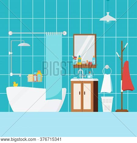 Cozy Bathroom Home Interior With Bath. House Or Hostel Room With Bathroom Furniture, Washbasin, Curt