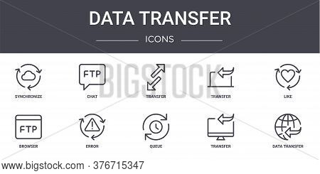 Data Transfer Concept Line Icons Set. Contains Icons Usable For Web, Logo, Ui Ux Such As Chat, Trans