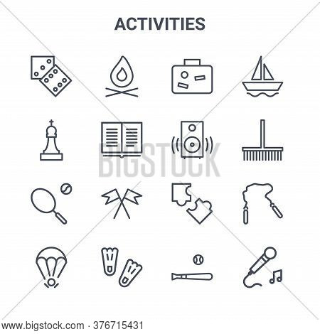 Set Of 16 Activities Concept Vector Line Icons. 64x64 Thin Stroke Icons Such As Fire, Chess Game, Ga