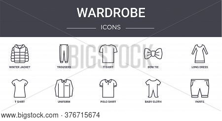Wardrobe Concept Line Icons Set. Contains Icons Usable For Web, Logo, Ui Ux Such As Trousers, Bow Ti