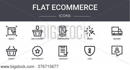 Flat Ecommerce Concept Line Icons Set. Contains Icons Usable For Web, Logo, Ui Ux Such As Add To Bas