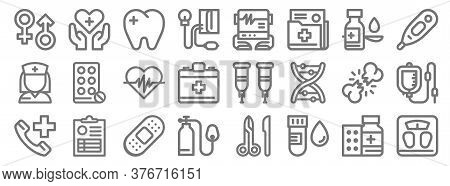 Medical Tools Line Icons. Linear Set. Quality Vector Line Set Such As Weight Scale, Blood Sample, Ox