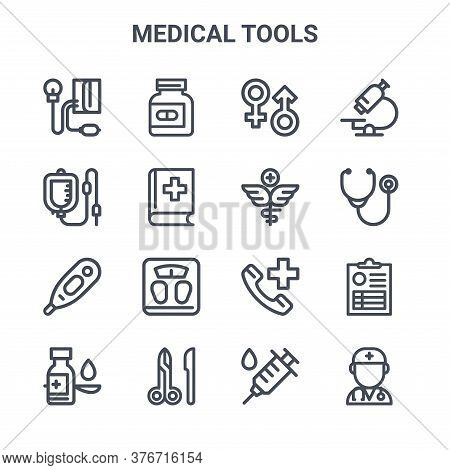 Set Of 16 Medical Tools Concept Vector Line Icons. 64x64 Thin Stroke Icons Such As Pills Bottle, Inf