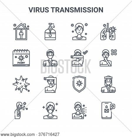 Set Of 16 Virus Transmission Concept Vector Line Icons. 64x64 Thin Stroke Icons Such As Hand Sanitiz