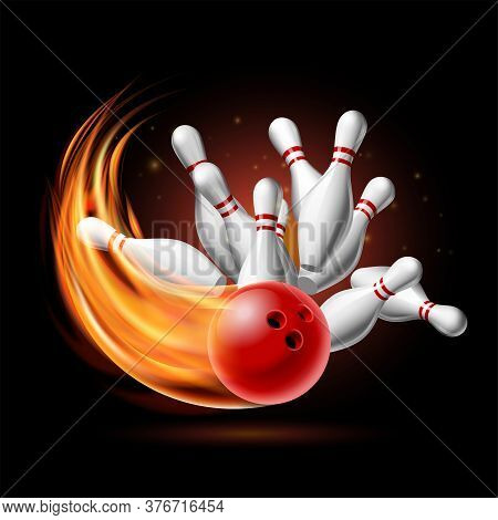 Red Bowling Ball In Flames Crashing Into The Pins On A Dark Background. Illustration Of Bowling Stri