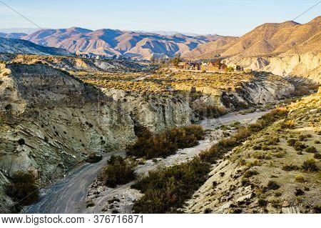 Tabernas Desert Landscape With Western Leone Village, Almeria, Spain. Movie Location Set For Spaghet