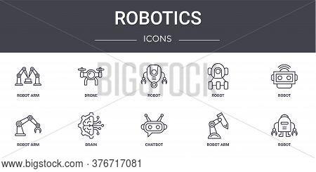 Robotics Concept Line Icons Set. Contains Icons Usable For Web, Logo, Ui Ux Such As Drone, Robot, Ro