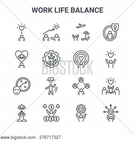 Set Of 16 Work Life Balance Concept Vector Line Icons. 64x64 Thin Stroke Icons Such As Coaching, Men