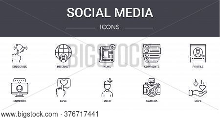 Social Media Concept Line Icons Set. Contains Icons Usable For Web, Logo, Ui Ux Such As Internet, Co