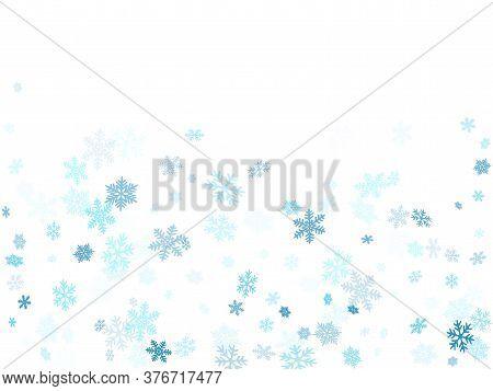 Winter Snowflakes Border Trendy Vector Background.  Macro Snowflakes Flying Border Illustration, Hol
