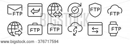 12 Set Of Linear Data Transfer Icons. Thin Outline Icons Such As Smartwatch, Cloud, Business, Shield