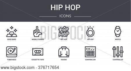 Hip Hop Concept Line Icons Set. Contains Icons Usable For Web, Logo, Ui Ux Such As Middle Finger, Hi