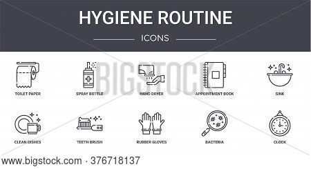 Hygiene Routine Concept Line Icons Set. Contains Icons Usable For Web, Logo, Ui Ux Such As Spray Bot