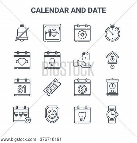 Set Of 16 Calendar And Date Concept Vector Line Icons. 64x64 Thin Stroke Icons Such As Calendar, Val