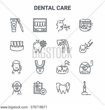 Set Of 16 Dental Care Concept Vector Line Icons. 64x64 Thin Stroke Icons Such As X Ray, Gums, Anesth