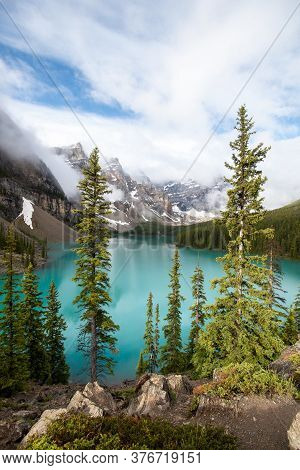 A Picture Of Moraine Lake And Ten Peaks Taken On A Sunny Morning.   Banff National Park  Ab Canada